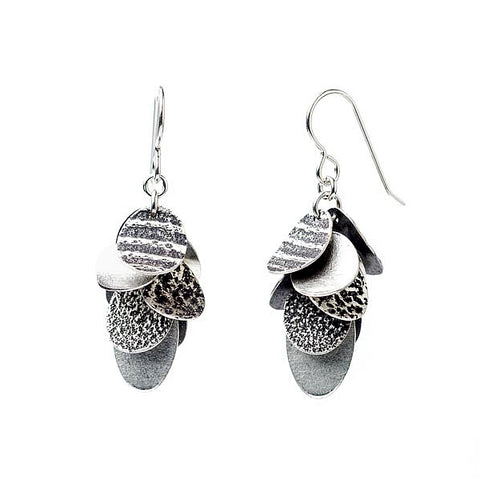 Martha Sullivan cascading multi-disc textured silver pine cone earrings