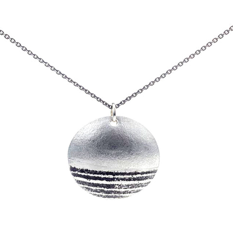 Martha Sullivan oval textured silver horizon necklace