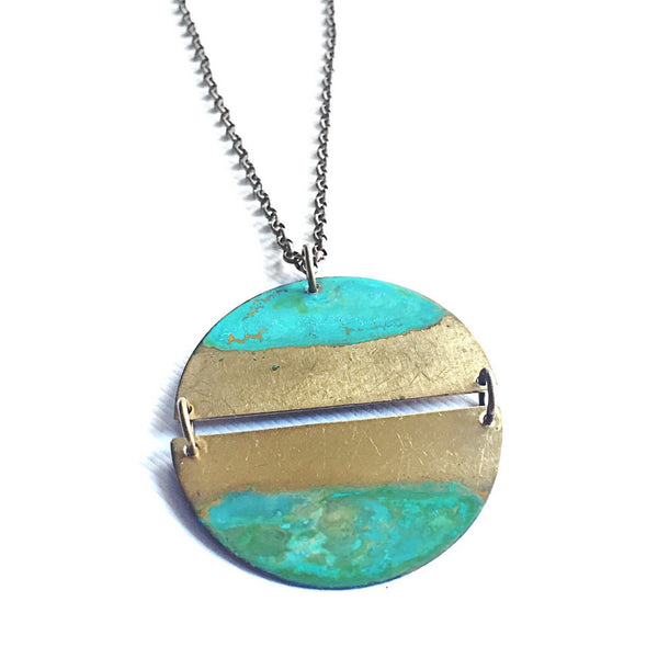 Melissa Lowery linked semicircles verdigris rising tide necklace