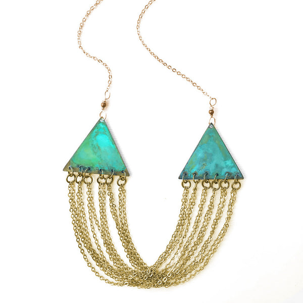 Melissa Lowery verdigris triangles and chains necklace