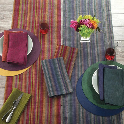 Bodrum Multi Stripe linen napkins and runners