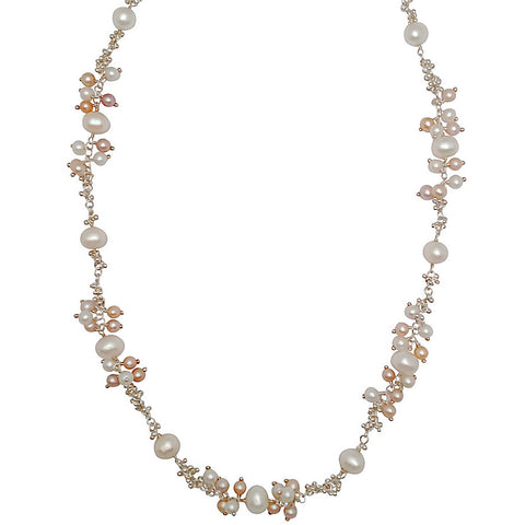 Magally Deveau silver and champagne pearl cluster necklace
