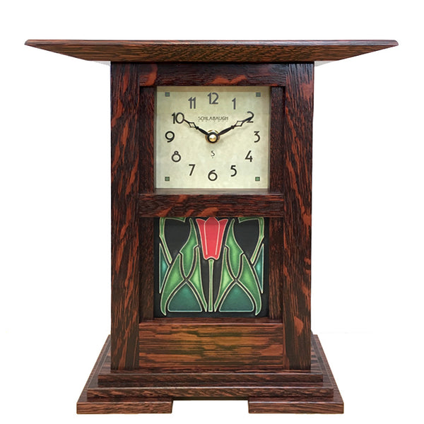 Prairie style clock with Motawi tile inset