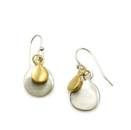 Philippa Roberts silver and gold vermeil earrings with graduated discs