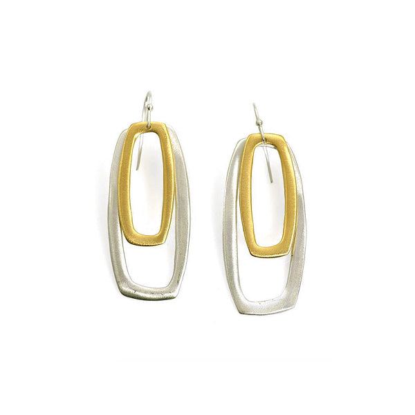 Philippa Roberts nested rectangles silver and gold vermeil earrings