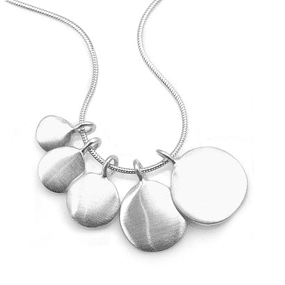 Philippa Roberts silver necklace with five graduated discs