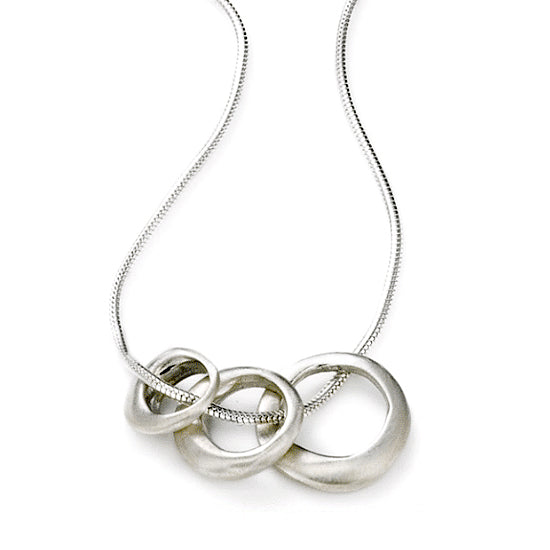 Philippa Roberts silver necklace with three graduated rings