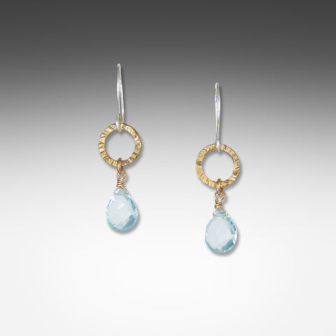 Q Evon blue topaz earrings on small silver or gold vermeil hammered hoop
