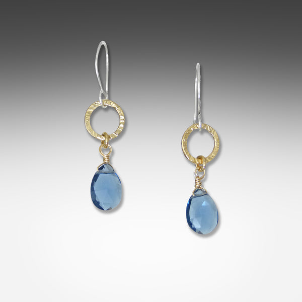Q Evon kyanite earrings on small silver or gold vermeil hammered hoop