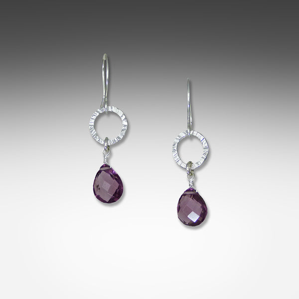 Suzanne Q Evon amethyst earrings on small silver or gold vermeil hammered hoop