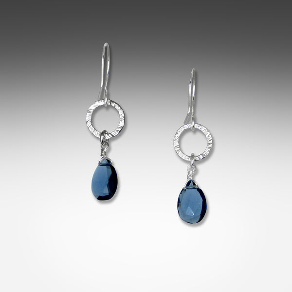 Suzanne Q Evon kyanite earrings on small silver or gold vermeil hammered hoop