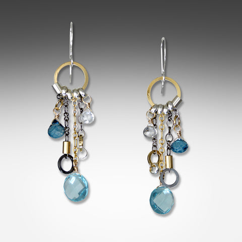 Q Evon long drop multi-hue blue topaz earrings