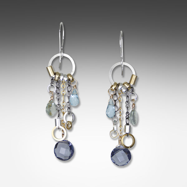 Suzanne Q Evon long drop multi-hue iolite earrings