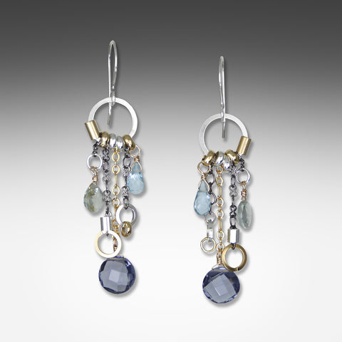 Q Evon long drop multi-hue iolite earrings