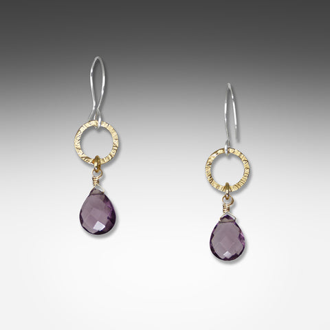 Q Evon amethyst earrings on small silver or gold vermeil hammered hoop