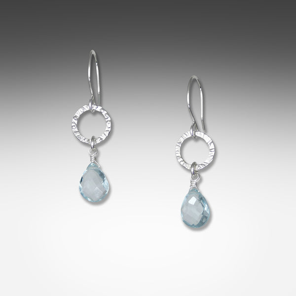 Suzanne Q Evon blue topaz earrings on small silver or gold vermeil hammered hoop