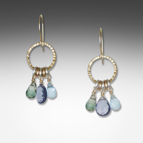 Q Evon 3-stone iolite earrings on gold vermeil hoop