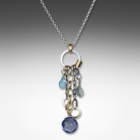 Q Evon long drop multi-hue iolite necklace