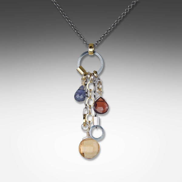 Q Evon long drop multi-gemstone mandarin necklace