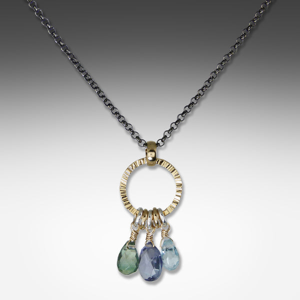 Suzanne Q Evon 3-stone iolite necklace on gold vermeil hoop