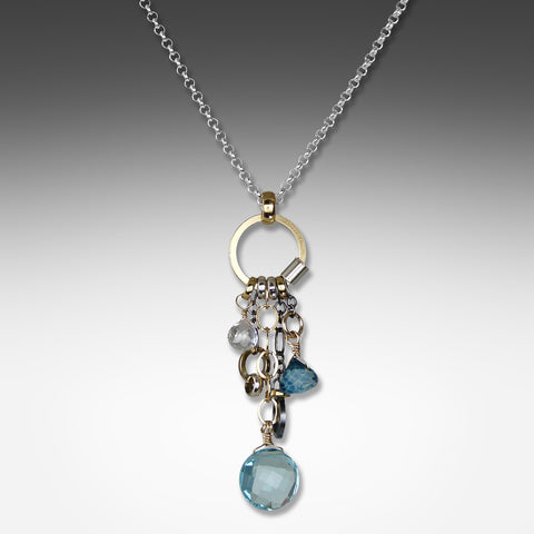 Q Evon long drop multi-hue blue topaz necklace