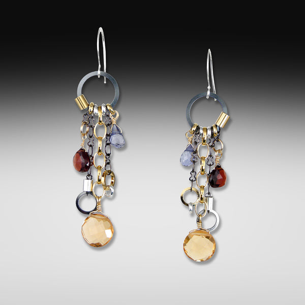 Long drop multi-stone mandarin earrings
