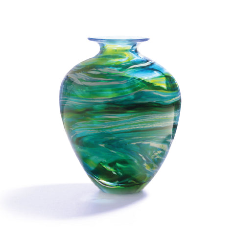 Hand-blown urn Merge vase by Richard Glass