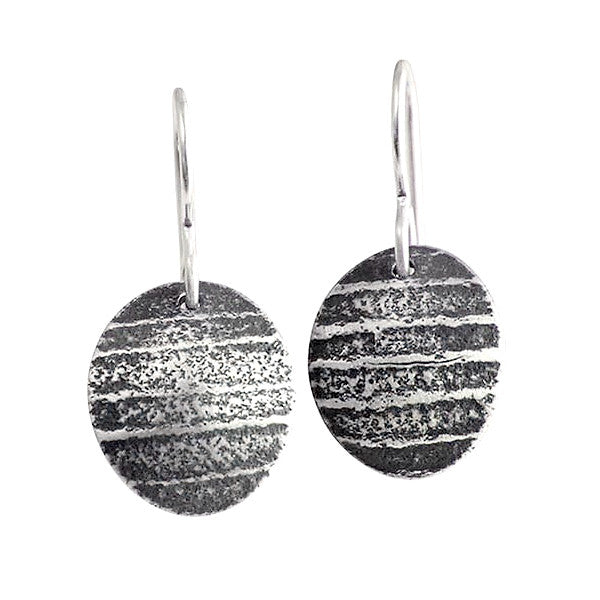 Martha Sullivan oval textured silver shell earrings
