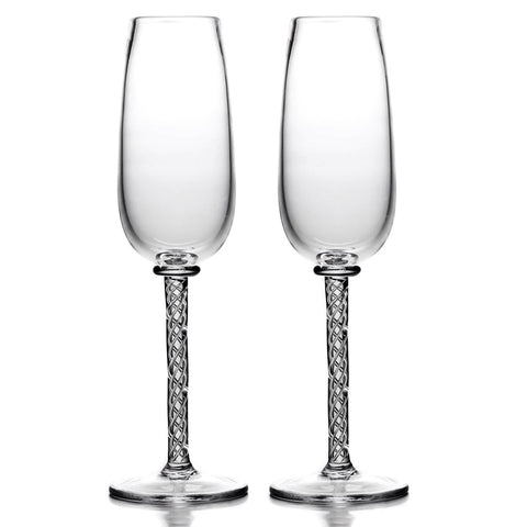 Simon Pearce Stratton champagne flute, gift-boxed set of 2