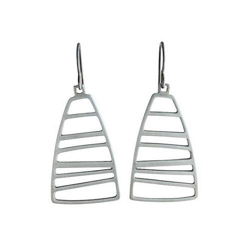 Martha Sullivan striated silver wedge earrings