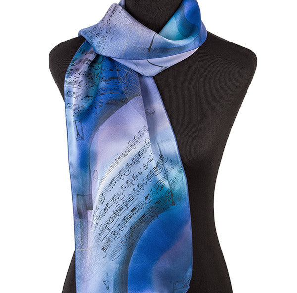 Hand-painted symphony silk scarf