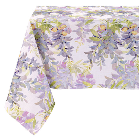 Bodrum Wisteria cotton print table linens