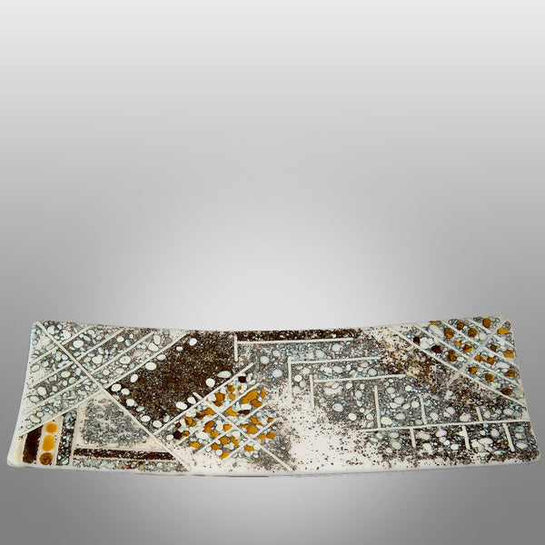 Rectangular rustic glass platter by Robert Lechterman