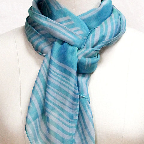 Screen-printed silk chiffon lines scarf