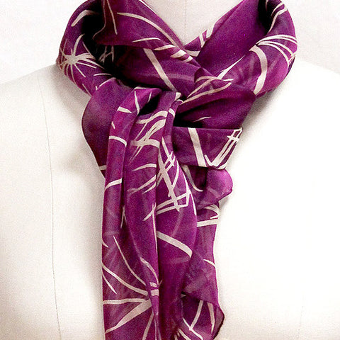 Screen-printed silk chiffon spines scarf