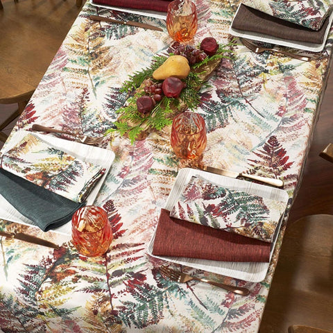 Bodrum Autumn Fern cotton print table linens