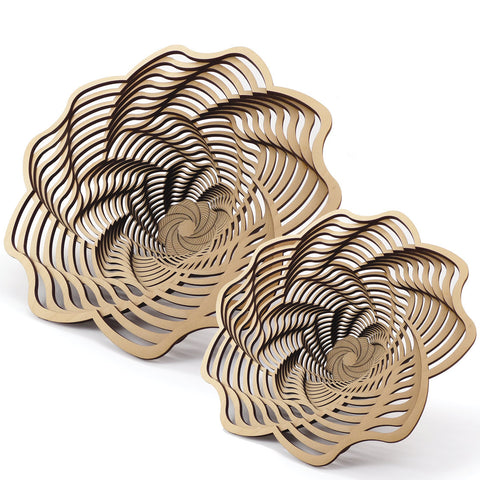 Laser-cut birch wood baskets