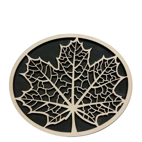 Birch wood oval trivet, maple leaf