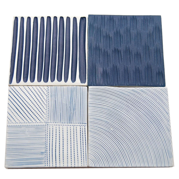Blue and white ceramic coasters, set of 4