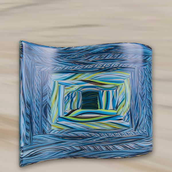 Blue wave glass platter by Robert Lechterman