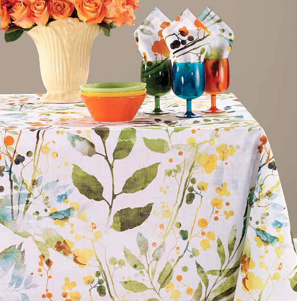 Bodrum Elderflower cotton print table linens