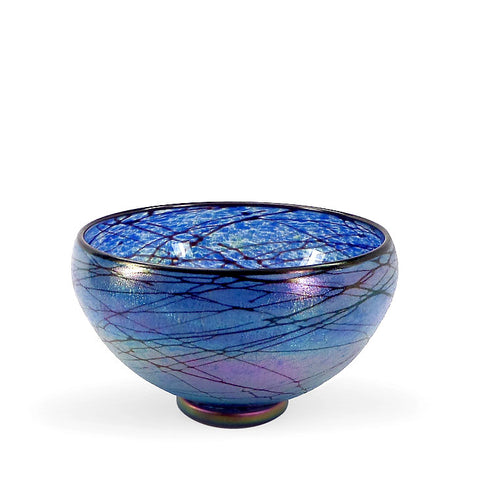 Handcrafted art glass blue Lustre bowl by David Lindsay