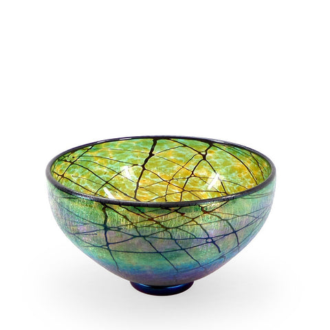 Handcrafted art glass green Lustre bowl by David Lindsay