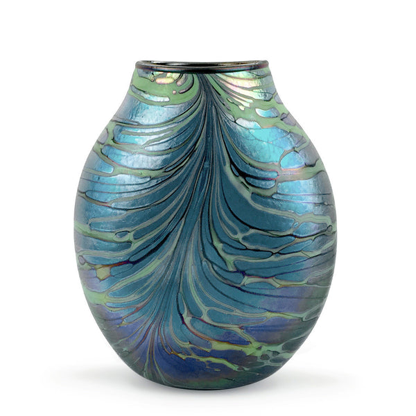 Handcrafted art glass fumed flat vessel by David Lindsay