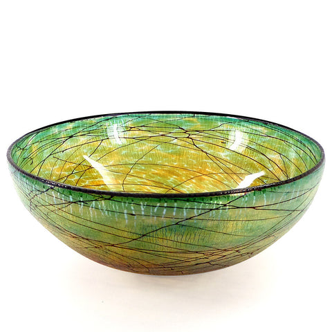 Handcrafted art glass large Lustre bowl by David Lindsay