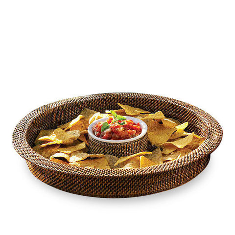 Woven rattan chip and dip server