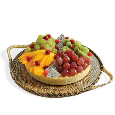 Woven rattan round serving tray with glass insert