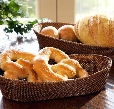 Woven rattan oval bread baskets