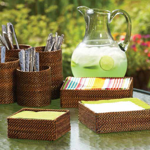 Woven rattan small square baskets