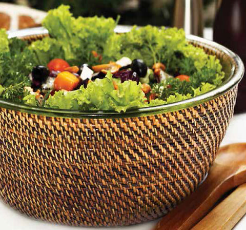 Glass salad bowl with woven rattan holder